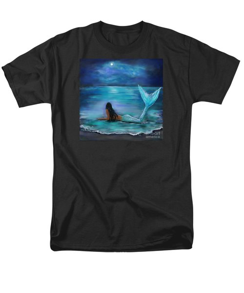 Mermaid Moon And Stars Men's T-Shirt  (Regular Fit) by Leslie Allen