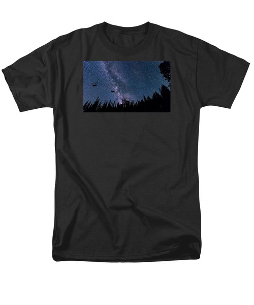 Milky Way Over Chairlift Men's T-Shirt  (Regular Fit) by Michael J Bauer