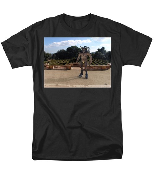 Minotaur In The Labyrinth Park Barcelona. Men's T-Shirt  (Regular Fit) by Joaquin Abella
