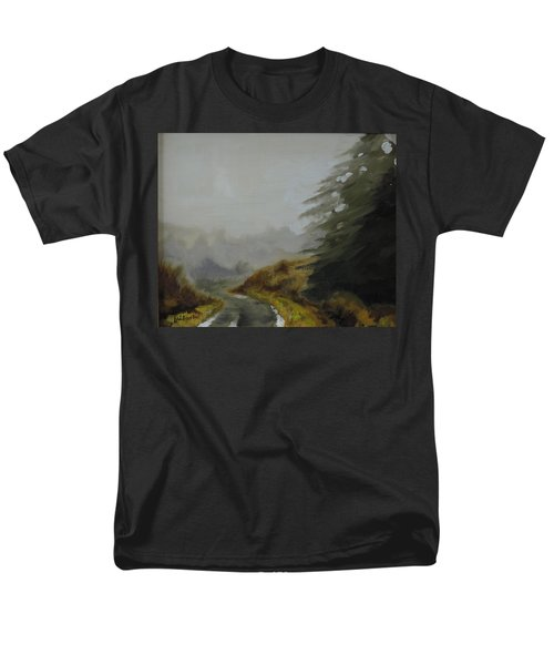 Men's T-Shirt  (Regular Fit) featuring the painting Misty Morning, Benevenagh by Barry Williamson