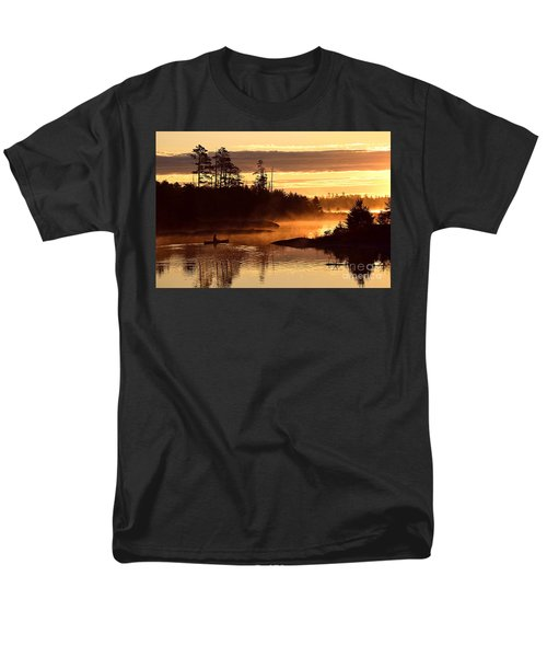 Men's T-Shirt  (Regular Fit) featuring the photograph Misty Morning Paddle by Larry Ricker