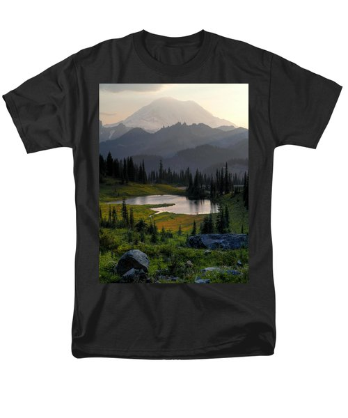 Men's T-Shirt  (Regular Fit) featuring the photograph Misty Rainier At Sunset by Peter Mooyman