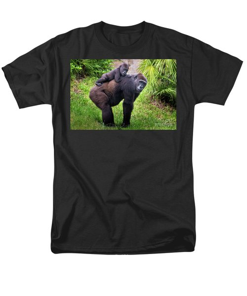 Mom And Baby Gorilla Men's T-Shirt  (Regular Fit) by Stephanie Hayes