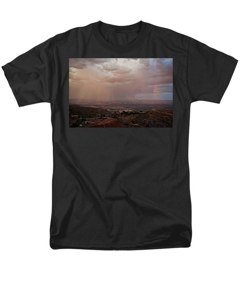 Monsoon Lightning And Rainbow Men's T-Shirt  (Regular Fit) by Ron Chilston