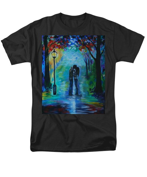 Men's T-Shirt  (Regular Fit) featuring the painting Moonlight Kiss by Leslie Allen