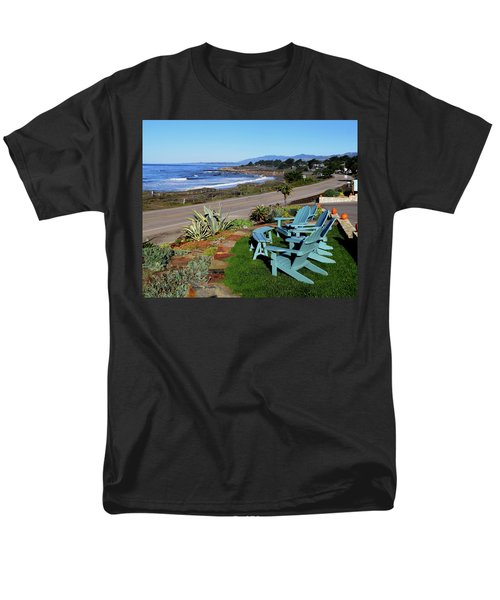 Men's T-Shirt  (Regular Fit) featuring the photograph Moonstone Beach Seat With A View by Barbara Snyder