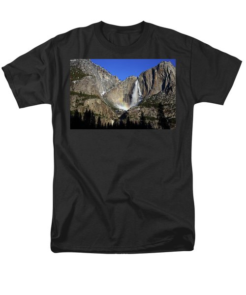 Men's T-Shirt  (Regular Fit) featuring the photograph Morning Light On Upper Yosemite Falls In Winter by Jetson Nguyen