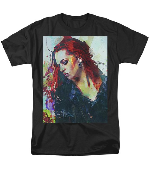 Men's T-Shirt  (Regular Fit) featuring the digital art Mostly- Abstract Portrait by Galen Valle