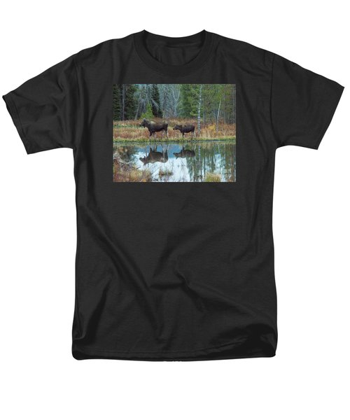 Men's T-Shirt  (Regular Fit) featuring the photograph Mother And Baby Moose Reflection by Rebecca Margraf