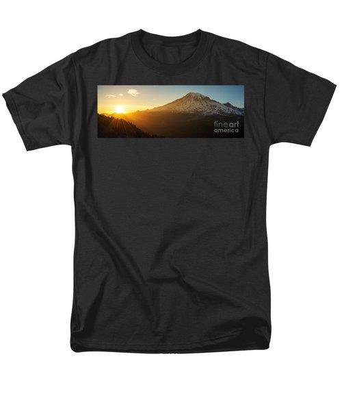 Mount Rainier Evening Light Rays Men's T-Shirt  (Regular Fit) by Mike Reid