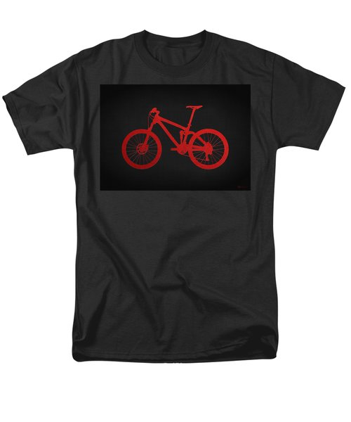 Mountain Bike - Red On Black Men's T-Shirt  (Regular Fit) by Serge Averbukh