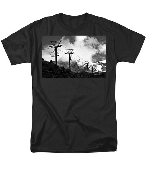Mountain Cable Road Waiting For Snow Men's T-Shirt  (Regular Fit) by Yurix Sardinelly