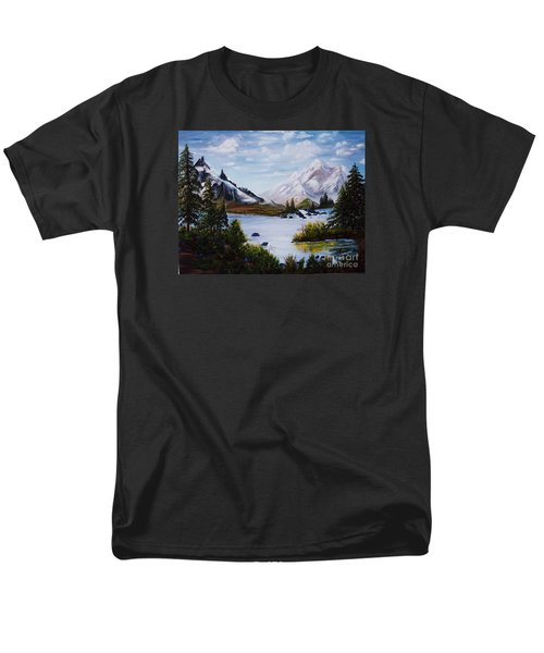 Men's T-Shirt  (Regular Fit) featuring the painting Mountain Splendor by Myrna Walsh