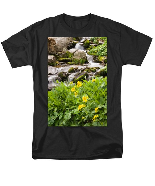 Mountain Waterfall And Wildflowers Men's T-Shirt  (Regular Fit) by Utah Images