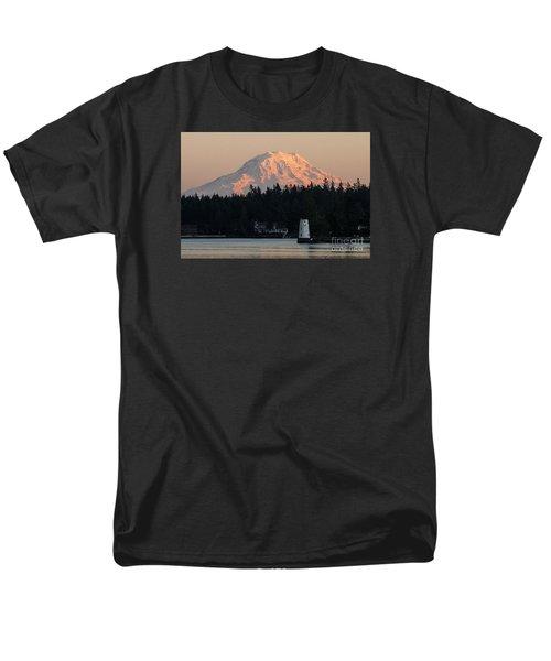 Mt. Rainier Sunset Glow Men's T-Shirt  (Regular Fit) by Chuck Flewelling