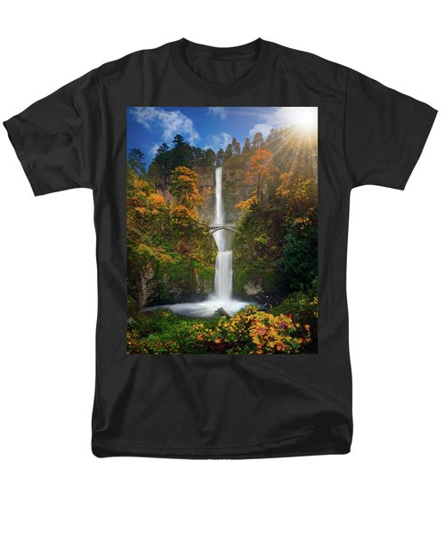 Multnomah Falls In Autumn Colors -panorama Men's T-Shirt  (Regular Fit) by William Lee