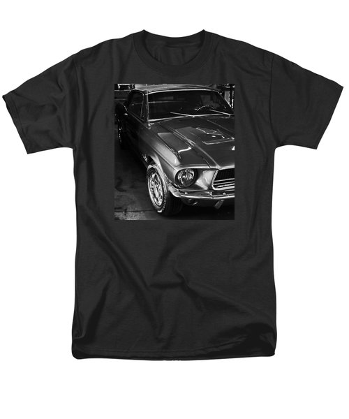 Men's T-Shirt  (Regular Fit) featuring the photograph Mustang In Black And White by John Stuart Webbstock