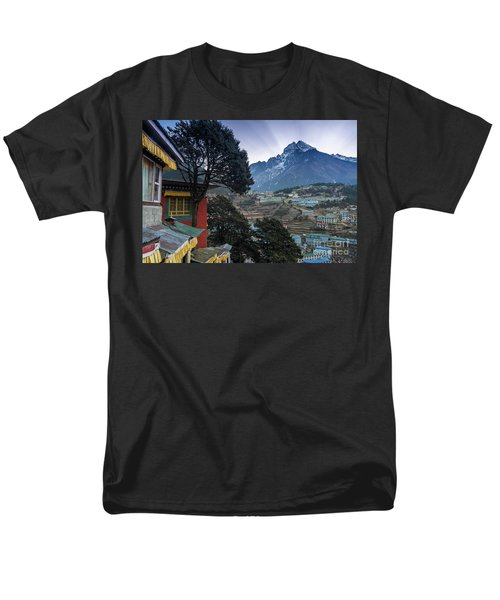 Men's T-Shirt  (Regular Fit) featuring the photograph Namche Monastery Morning Sunrays by Mike Reid