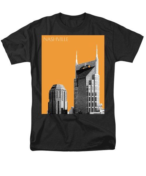 Nashville Skyline At And T Batman Building - Orange Men's T-Shirt  (Regular Fit) by DB Artist
