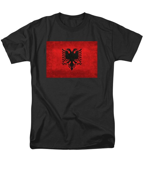 National Flag Of Albania With Distressed Vintage Treatment  Men's T-Shirt  (Regular Fit) by Bruce Stanfield