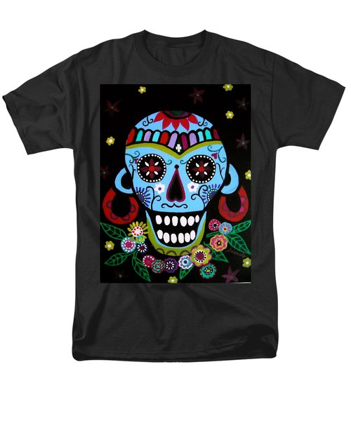 Men's T-Shirt  (Regular Fit) featuring the painting Native Dia De Los Muertos Skull by Pristine Cartera Turkus