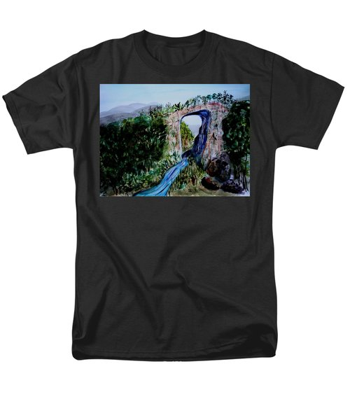 Men's T-Shirt  (Regular Fit) featuring the painting Natural Bridge In Virginia by Donna Walsh