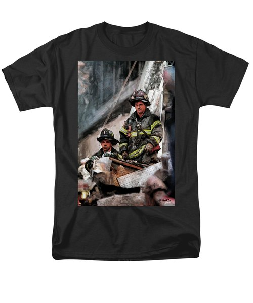 Men's T-Shirt  (Regular Fit) featuring the painting New York Firefighters After 9/11 Part 2 by Kai Saarto
