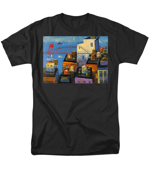 New York,red Bridge Men's T-Shirt  (Regular Fit) by Mikhail Zarovny