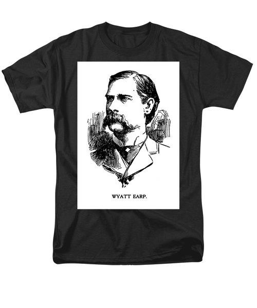Men's T-Shirt  (Regular Fit) featuring the mixed media Newspaper Image Of Wyatt Earp 1896 by Daniel Hagerman