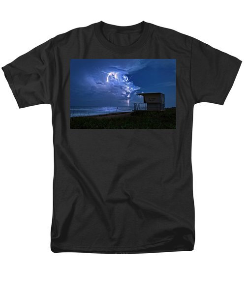 Men's T-Shirt  (Regular Fit) featuring the photograph Night Lightning Under Full Moon Over Hobe Sound Beach, Florida by Justin Kelefas