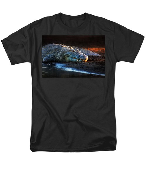 Nile Crocodile On Riverbank-1 Men's T-Shirt  (Regular Fit) by Johan Swanepoel