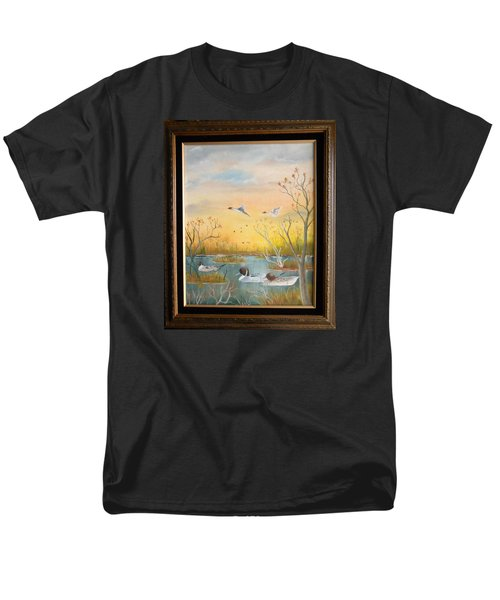 Men's T-Shirt  (Regular Fit) featuring the painting Northen Pintails by Al  Johannessen