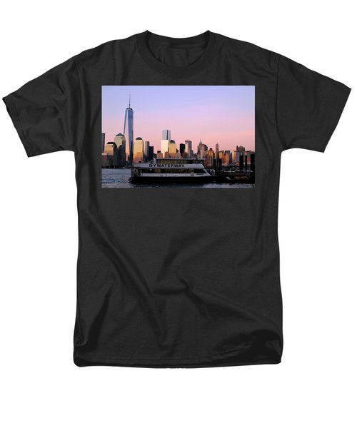 Nyc Skyline With Boat At Pier Men's T-Shirt  (Regular Fit)