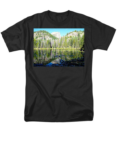Nymph Lake And Flattop Mountain Men's T-Shirt  (Regular Fit) by Joseph Hendrix