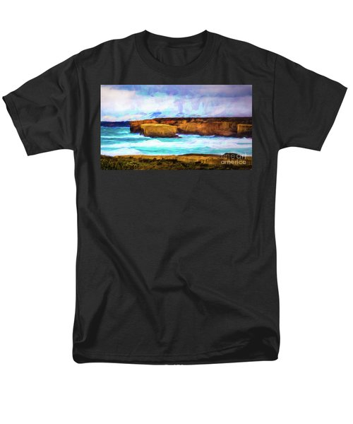 Men's T-Shirt  (Regular Fit) featuring the photograph Ocean Cliffs by Perry Webster