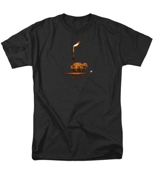 Oil Rig At Night Men's T-Shirt  (Regular Fit) by Bradford Martin
