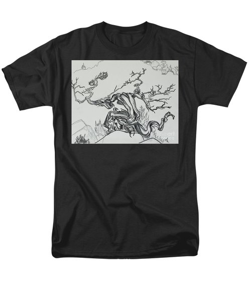 Old Juniper Dancing With The Wind -- Field Sketch Men's T-Shirt  (Regular Fit) by Dawn Senior-Trask