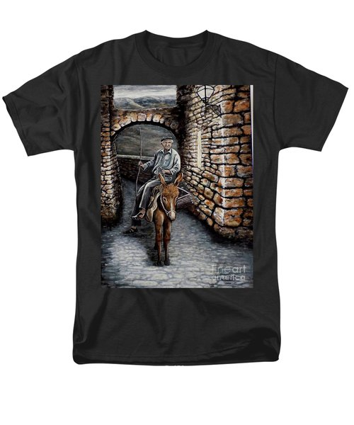 Old Man On A Donkey Men's T-Shirt  (Regular Fit) by Judy Kirouac