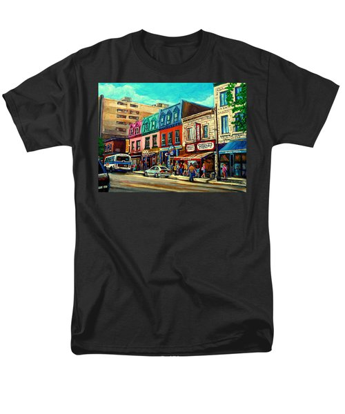 Old Montreal Schwartzs Deli Plateau Montreal City Scenes Men's T-Shirt  (Regular Fit) by Carole Spandau