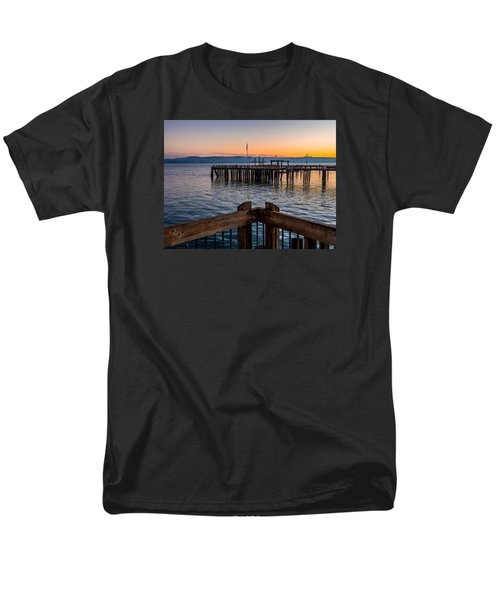 Men's T-Shirt  (Regular Fit) featuring the photograph Old Town Pier During Sunrise On Commencement Bay by Rob Green