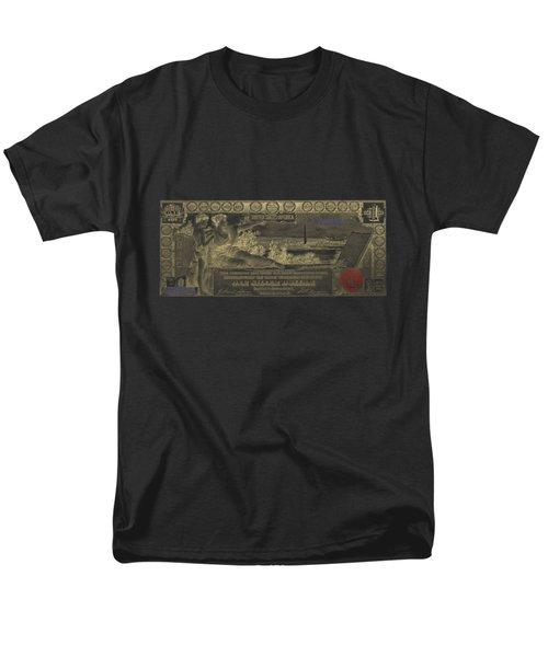 Men's T-Shirt  (Regular Fit) featuring the digital art One U.s. Dollar Bill - 1896 Educational Series In Gold On Black  by Serge Averbukh
