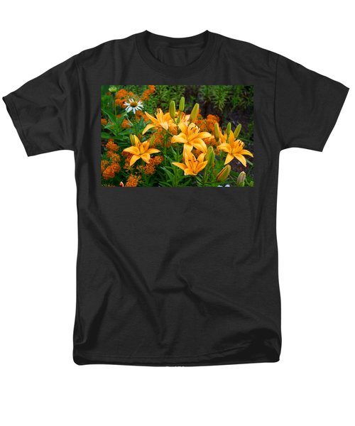 Men's T-Shirt  (Regular Fit) featuring the photograph Orange Asiatic Lilies And Butterfly Weed by Kathryn Meyer