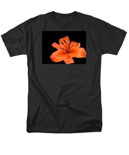 Orange Orchid On Black Men's T-Shirt  (Regular Fit) by Karen Nicholson