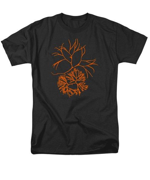 Men's T-Shirt  (Regular Fit) featuring the mixed media Orange Seaweed Marine Art Furcellaria Fastigiata by Christina Rollo