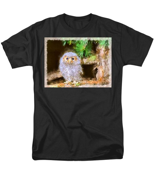 Men's T-Shirt  (Regular Fit) featuring the digital art Owlet-baby Owl by Maciek Froncisz