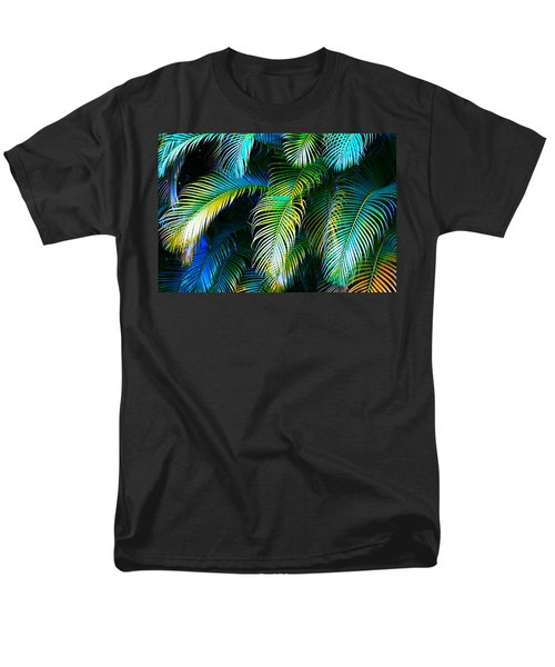Palm Leaves In Blue Men's T-Shirt  (Regular Fit) by Karon Melillo DeVega