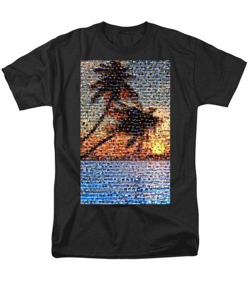 Men's T-Shirt  (Regular Fit) featuring the mixed media Palm Tree Mosaic by Paul Van Scott