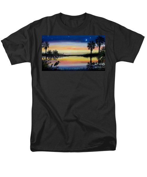 Men's T-Shirt  (Regular Fit) featuring the painting Palmetto Tree And Moon Low Country Sunset by Patricia L Davidson