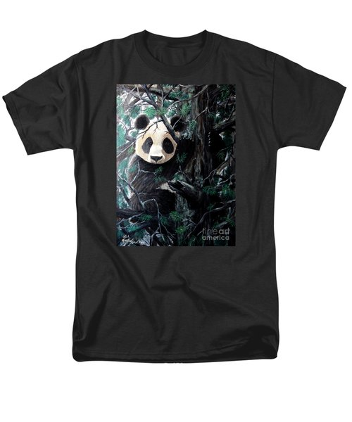 Panda In Tree Men's T-Shirt  (Regular Fit) by Nick Gustafson