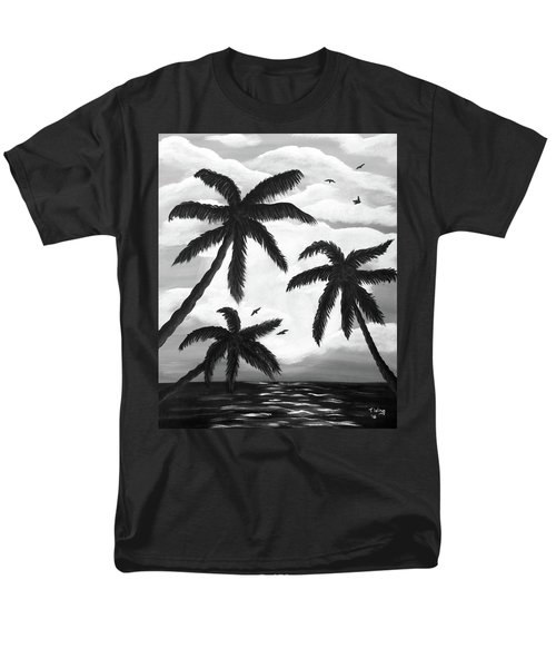 Men's T-Shirt  (Regular Fit) featuring the painting Paradise In Black And White by Teresa Wing
